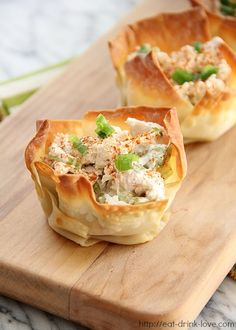 Make chicken salad in to a easy-to-handle appetizer or snack... instead of finger sandwiches, do chicken salad in wonton cups!