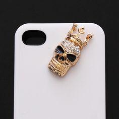silver or gold crystal skull with crown diy bling phone deco Skull With Crown, Diy Crown, Crystal Skull, Skull And Bones, Skulls, Craft Supplies, Bling, Crystals, Deco