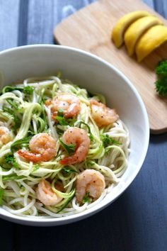 French Delicacies Essentials - Some Uncomplicated Strategies For Newbies Coconut Garlic Shrimp With Zoodles Frugal Nutrition Zoodle Recipes, Fish Recipes, Paleo Recipes, Real Food Recipes, Low Carb Noodles, Gluten Free Noodles, Rice Noodles, Zucchini Noodles, Garlicky Shrimp
