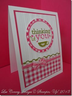 handmade card ... sweet rosey pink gingham stamping with olive accents ... warm and cosy feeling ... luv it!! ... Stampin' Up!