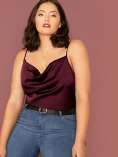 Plus Draped Neck Satin Cami Top Check out this Plus Draped Neck Satin Cami Top on Shein and explore more to meet your fashion needs! Cami Tops, Satin Cami Top, Silk Top, Camisole Top, Plus Size Tank Tops, Plus Size Blouses, Plus Zise, Fashion News, Fashion Outfits