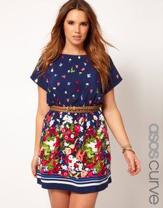ASOS CURVE Exclusive Skater Dress With Floral Border