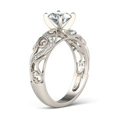 Filigree Vines Round Cut Created White Sapphire Rhodium Plated 925 Sterling Silver Women's Engagement Ring