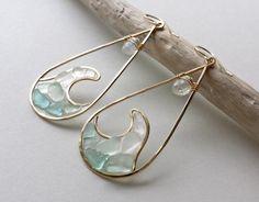 Items similar to Wave Hoop Earrings, Sea Glass Hoops, Beach Glass Earrings, Resin Beach Hoop Earrings, Rainbow Moonstone Hoops on Etsy Sea Glass Jewelry, Glass Earrings, Resin Jewelry, Jewelry Crafts, Beaded Jewelry, Silver Jewelry, Handmade Jewelry, Hoop Earrings, Geek Jewelry