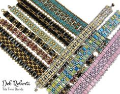 Tila Twin Bands beaded pattern tutorial by Deb Roberti Bead Crochet Patterns, Bead Embroidery Patterns, Beading Patterns Free, Beaded Jewelry Patterns, Knitting Patterns Free, Weaving Patterns, Bead Jewelry, Mosaic Patterns, Jewellery