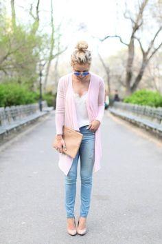 Lace Tank + Pastel Cardigan + Light Denim   10 Denim Looks We Love