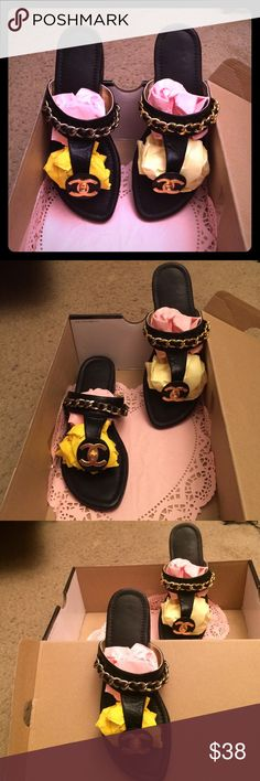 """TheseCoCoChanel,GoldChainLink,FlipFlops,lil,Heel💭 These Rare Coco Chanel flip flops  they are pretty New, Only been worn a couple times.... They are black with GOLD Chain link's all on THEM... Everyone who ever saw them, on ME which was only a FEW!!! They All """" said """" Are those Authentic and I answered honestly...and said probably not / but there pretty FFFF CLOSE!!! I know got to watch my language it's off the HOOK!!! So instead of me disagreeing on the Authenticity of the Sandals! I just…"""