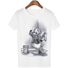 women's T shirt Brand New Brands Cartoon Mouse White Women T shirts Flag Owl Duck Casual Tops Ladies Hot Sale Tees DC04-Y