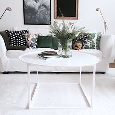 | good morning | our white round table with square undercarriage | that pure white is just so lovely | #domo #domodesign #bord #soffbord #småland