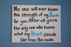"""Nursery Decor, baby boy or girl, """"No one will ever know the strength of my love for you"""" quote sign, new mom gift. $36.00, via Etsy."""