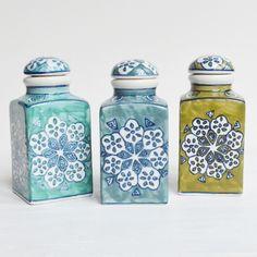 Hand-painted Ceramic Jars - Set of 3