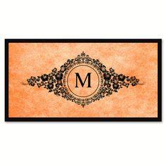 Alphabet Letter M Orange Canvas Print, Black Custom Frame