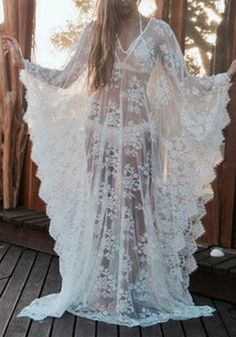 Robe longue de maternité dentelle transparent v-cou sexy kimono blanc fef2d54150c1