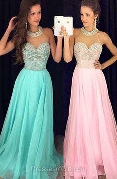 Teel Green Prom Dresses, Pink Prom Dress, Open Back Evening Dresses, Chiffon Party Dresses, Princess Formal Dresses