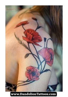 Poppy And Dandelion Tattoo 18 - http://dandeliontattoos.com/poppy-and-dandelion-tattoo-18/