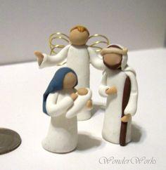 Nativity Set - Tiny Miniature 3 Piece Handmade OOAK Willow Style Figurines. $28.00, via Etsy.