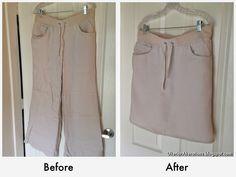 DIY refashion pants into a cute skirt! http://ulterioralterations.blogspot.com/2014/06/linen-pant-to-skirt-refashion.html#.U9L9p_ldUQM