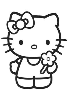 Hello Kitty Holding A Flower Coloring Page