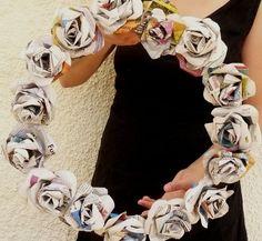 Newspaper rose wreath :) Love it!