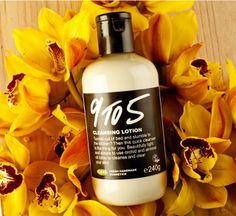 """9 to 5 Cleansing Lotion: """"Tumble out of bed and stumble into the kitchen? Then this quick cleanser is the thing for you. Beautifully light and simple to use orchid and almond oil lotion to cleanse and clear your skin"""" Lush, Cleansing Milk, Facial Cleansers, Make Up Remover, Face Cleanser, Face And Body, Fresh Fruit, Orchids, Essential Oils"""