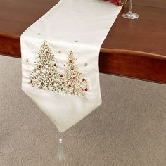 O Christmas Tree Embroidered Table Runner Light Cream Christmas Tree On  Table, Christmas Runner,