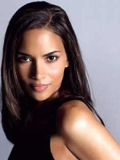 Halle Berry in a long black hair weave. One of the best weaves in Hollywood.