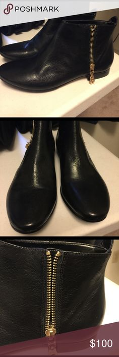 Cole Han Boots Flat black boots with gold hardware zippers on the side... no heel good for walking... cole haan Shoes Combat & Moto Boots