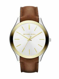 Michael Kors Womens Slim Runway Chocolate Leather Strap Watch | WatchCorridor