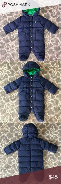 Ralph Lauren Navy & Green infant boy's snowsuit This Ralph Lauren infant boy's snowsuit is brand-new, never worn but does not include tags. The navy blue snowsuit is lined in green inside the hood. There is a green pony on the left chest. The cuffs have overlays so little hands can either be exposed, or completely covered for warmth. There is a front zipper and 7 snap overlay. Size 3 months. Feel free to ask any questions & make your best offer! Ralph Lauren Jackets & Coats