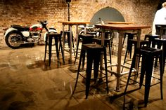 Industrial Stools and Tables #Triumph #Motorcycle #Event #Furniture #Ideas #Inspiration #Decor #Design #Industrial #Hire #London #BikeShed