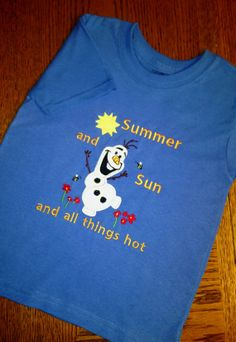 "Disney Store Frozen Olaf /""I Love Summer/"" Short Sleeve T-Shirt Girls Size Medium"