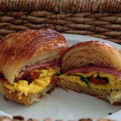 Crossaint W/ 2 Eggs, Ham & Cheese Menu Online, Tasty, Yummy Food, 2 Eggs, Ham And Cheese, High Tea, Sandwiches, Dishes, Ethnic Recipes