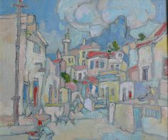 Boonzaier, Gregoire | District Six | Oil on Board | Size : 285 x 340mm | Code : 9524 South Africa Art, House Painter, Paintings I Love, Art Drawings Sketches, Cityscapes, Artist Painting, Cape Town, Watercolour, Art Projects