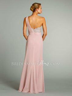 Chiffon Pink One Shoulder Floor Length Bridesmaid Dress at Bridesmaidwire.com