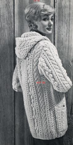 Ladies hooded park coat in aran wool vintage knitting pattern PDF INSTANT DOWNLOAD Measures 44 inches bust You will need 23 Skeins 2oz