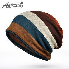 [AETRENDS] 2016 New Double Layers Cotton Striped Hip Hop Skullies Winter Warm Hats Scarves Beanies Headgear Z-5004