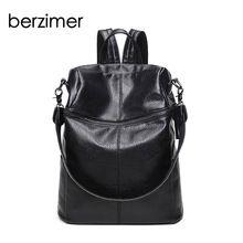 a5dc85502805d BERZIMER New Stylish Women Backpacks Fashion Women Bags Nice Black Soft  Leather Large Capacity Bags for Women 2018