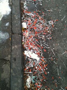 Welcome to Surrey, BC. Road side curb filled with drug addicts syringes Street Trash, Hypodermic Needle, Youre Doing It Wrong, Look At You, Surrey, Street Photography, Creepy, It Hurts
