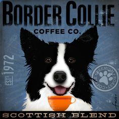 Items similar to Border Collie dog Coffee Company Company illustration graphic artwork on gallery wrapped canvas by stephen fowler PIck A Size on Etsy Collie Puppies, Collie Dog, Dog Love, Puppy Love, Border Collie Art, Dog Coffee, Coffee Talk, Bearded Collie, Graphic Artwork