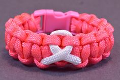 How to Make - Breast Cancer Awareness Ribbon Paracord Bracelet with Buckle. Pink, fight like a girl,  ribbon, trim, yarn, craft, tutorial, video tutorial, key chain, girl, women