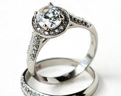 cz ring, cz wedding ring, cz engagement ring, wedding ring set, ring set, oval, halo, bridal set, size 5 6 7 8 9 10 - MC11631T