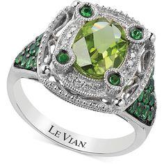 Complementary shades of green make this exquisite Le Vian ring a statement of style. Oval-cut peridot (1-5/8 ct. T.w.) is emblazoned with round-cut tsavorite (…