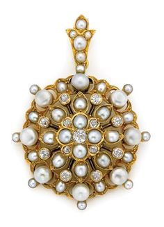 Antique Gold, Button Pearl, Split Pearl and Diamond Pendant   The openwork circular pendant surmounted by a stylized flower centering one old-mine cut diamond, encircled by 4 split pearls and 4 old-mine cut diamonds, further surrounded by 8 split pearls within pear-shaped gold petals and 8 old-mine cut diamonds, the outer frame set with 8 button pearls approximately 4.8 to 4.6 mm., spaced and tipped by split pearls, approximately 12 dwt.  Victorian or Victorian style.