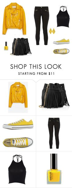 """The Zara yellow jacket"" by martita-aki on Polyvore featuring moda, Zara, Whistles, Converse y J Brand"