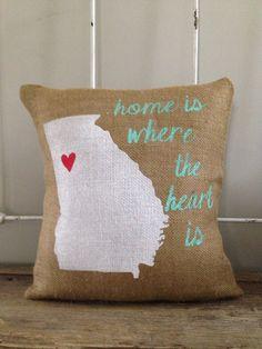 Burlap Pillow  Home is where the heart is by TwoPeachesDesign, $30.00 #UGA #Athens #Georgia