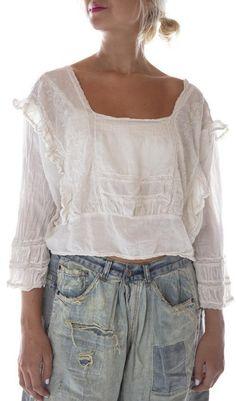 Magnolia Pearl, Estilo Jeans, Romantic Outfit, Linens And Lace, Textiles, Tee Dress, Embroidered Blouse, Cotton Lace, Vintage Costumes
