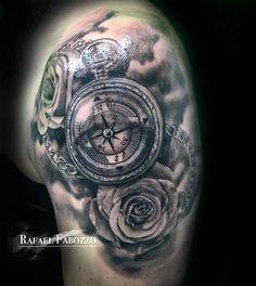 Compass Roses Tattoo by Rafael Fabozzo Eagle Tattoos, Rose Tattoos, Color Tattoo, Compass Tattoo, Roses, Colors, Compass Rose Tattoo, Compass Rose, Pink