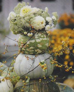 Decorating with Pumpkins - The Daily Basics Fall Window Boxes, Pumkin Decoration, Fall Containers, Fall Plants, White Pumpkins, Fall Table, Autumn Garden, Fall Flowers, Fall Halloween
