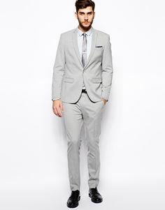 Skinny Fit Suit Jacket in Grey