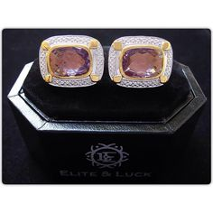 Amethyst Sterling Silver Cufflinks, Rhodium & 18K Yellow Gold plated, Luxury…